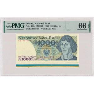 DESTRUKT 1.000 złotych 1982 - z paserami drukarskimi na dolnym marginesie
