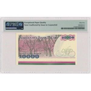 DESTRUKT 10.000 złotych 1988 - z paserami drukarskimi na dolnym marginesie
