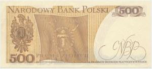 DESTRUKT 500 złotych (1982) - większościowy brak druku głównego na awersie