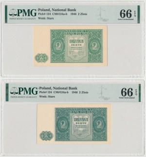 2 złote 1946 - odmiany kolorytyczne (2szt)