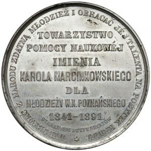 Medal, Karol Marcinkowski / T-wo Pomocy Naukowej, Poznań 1891 - PIĘKNY