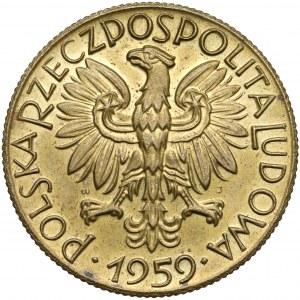 Próba MOSIĄDZ 5 złotych 1959 Rybak - piękny