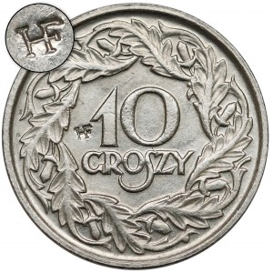 10 groszy 1923 z puncą HF - Huguenin Freres - Le Locle - rzadkość