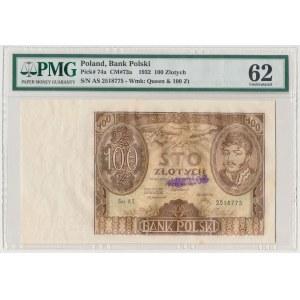 100 złotych 1932 - unieważnione stemplem WERTLOS