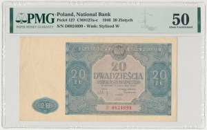 20 złotych 1946 - D - druk w kolorze NIEBIESKIM