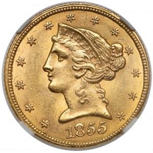 USA, 5 dollars 1855