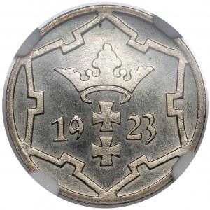 Gdańsk, 5 fenigów 1923 - stempel LUSTRZANY