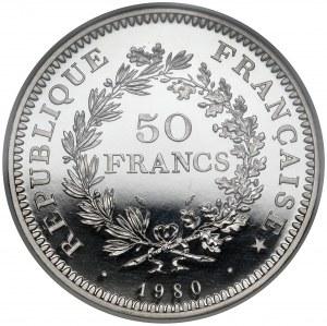 Francja, PLATYNA, 50 franków 1980, Paryż - PIEFORT - b.rzadkie