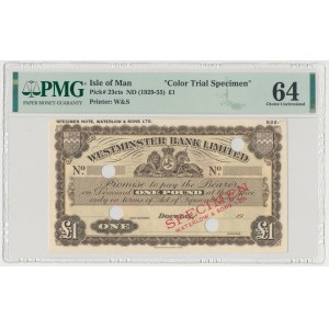 Isle of Man, Westminster Bank Limited, 1 Pound (1929-55) SPECIMEN