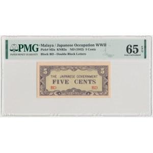 Malaya, Japanese Occupation WWII, 5 Cents (1942)
