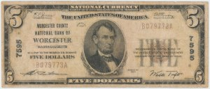 National Currency 5 Dollars 1929, Massachusetts #7595