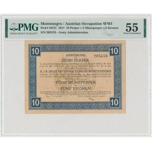 Czarnogóra, 10 Parper = 5 Munzparper = 5 Kronen 1917