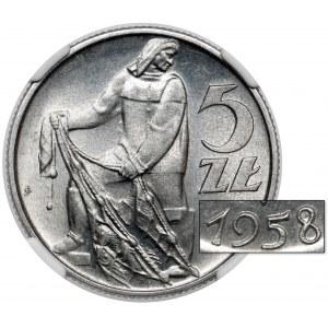 5 złotych 1958 Rybak - wąska ósemka