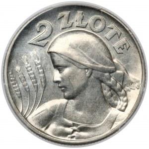 Kobieta i kłosy 2 złote 1925 bez kropki, Filadelfia