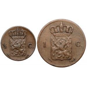 Niderlandy, od 1/2 do 1 centa 1861-1863, zestaw (2szt)