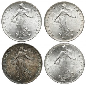 Francja, 50 centimes 1916-1919, zestaw (4szt)