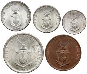 USA, Filipiny, od 1 do 50 centavos 1944-1945, zestaw (5szt)