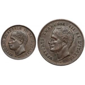Włochy, Emanuel III, 1 i 2 centesimi 1903 R (2szt)