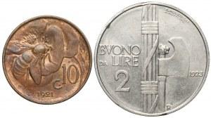 Włochy, Emanuel III, 10 centesimo i 2 liry 1921-1923, zestaw (2szt)