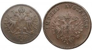 Austria, Franciszek Józef I, Lombardia-Wenecja, 1 centesimo 1862 i 5 centesimi 1852 - zestaw (2szt)