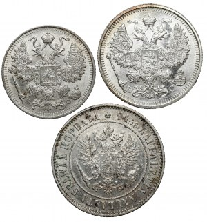 Rosja i Finlandia - zestaw monet srebrnych (3szt)