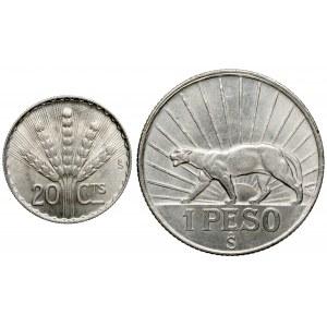 Urugwaj, 20 centesimos 1942 i 1 peso 1942 (2szt)