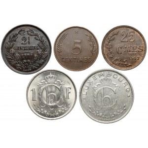 Luksemburg, od 2,5 centimes do 1 franka 1901-1952 (5szt)