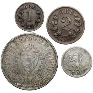 Norwegia, od 1 ore do 2 koron 1876-1915, zestaw (4szt)