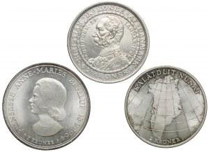 Dania, 2 i 5 kroner 1906-1964, zestaw (3szt)