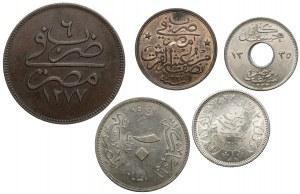 Egipt, zestaw różnych nominałów (5szt)