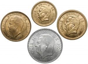 Monako, 1, 2, 5 i 50 franków 1945-1950, zestaw (4szt)