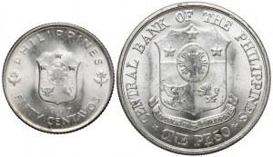 USA, Filipiny, 50 centavos i Peso 1947-1961, zestaw (2szt)