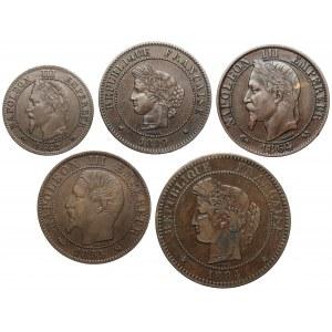 Francja, 2 - 10 centimes 1855-1890, zestaw (5szt)