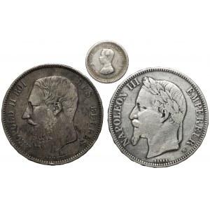 Francja, Belgia i Tajlandia - zestaw monet srebrnych (3szt)