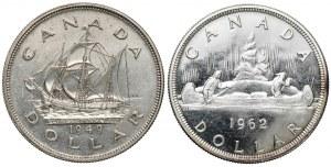 Kanada, Jerzy VI i Elżbieta II, Dolary 1949-1962 (2szt)