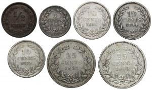 Niderlandy, od 1/2 do 25 centów 1849-1895, zestaw (7szt)