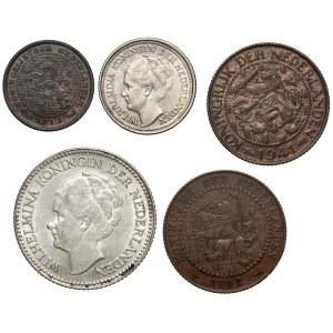 Niderlandy, od 1/2 centa do 1/2 guldena 1902-1941, zestaw (5szt)