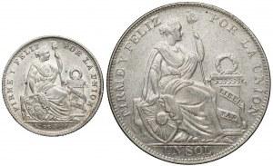 Peru, 1/5 sol 1907 i 1 sol 1934 (2szt)