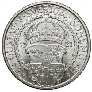 Szwecja, Gustaw V, 2 korony 1921 - 400 rocznica wojny o niepodległość