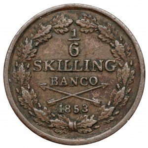 Szwecja, Oskar I, 1/6 Skilling Banco 1853