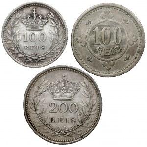 Portugalia, od 100 do 200 reis 1900-1910, zestaw (3szt)