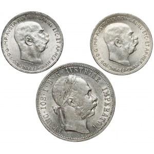 Austro-Węgry, Korony i floren 1875-1916, zestaw (3szt)