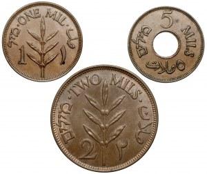 Palestyna, 1, 2 i 5 mills 1924-1942 (3szt)