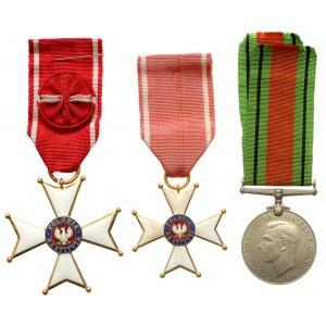 Order Odrodzenia Polski - krzyż kawalerski i oficerski, oraz medal za II Wojnę Światową (3szt)