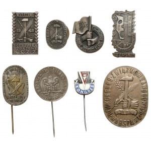 PRL, zestaw odznak - głównie związki zawodowe (8szt)
