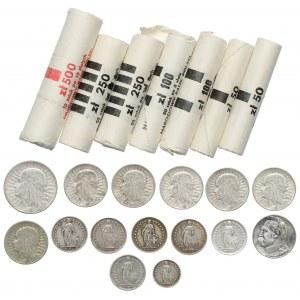 II RP, Szwajcaria, srebne monety + rulony PRL, zestaw