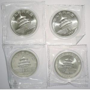 Chiny, PANDA 10 yuanów 1989-1992 SREBRO, zestaw (4szt)