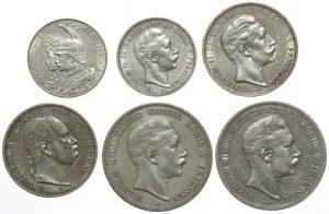 Niemcy, Prusy, Talar, 2-5 marek 1866-1910 (6szt)