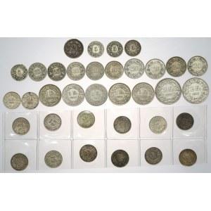 Szwajcaria, duży zestaw monet, głównie SREBRNYCH (35szt)