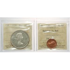 Kanada, Elżbieta II, Dolar 1956 i Cent 1957 - zestaw (2szt)